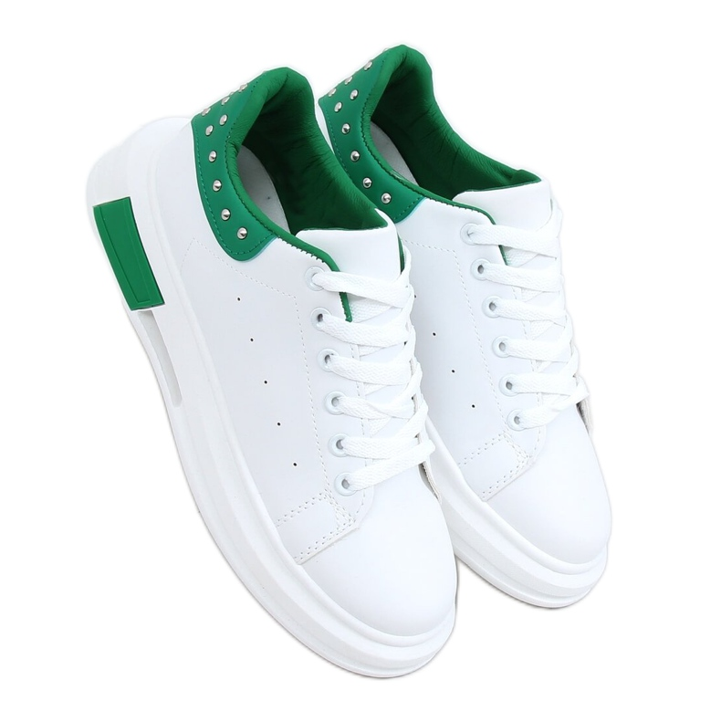 Women's white and green sneakers SC36 WHITE / GREEN