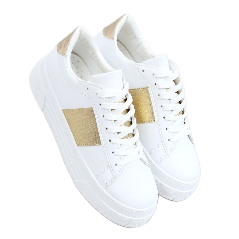 High-soled sneakers white and gold LA133P Gold golden