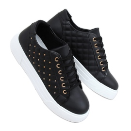 Black women's sneakers with studs LA124P Black