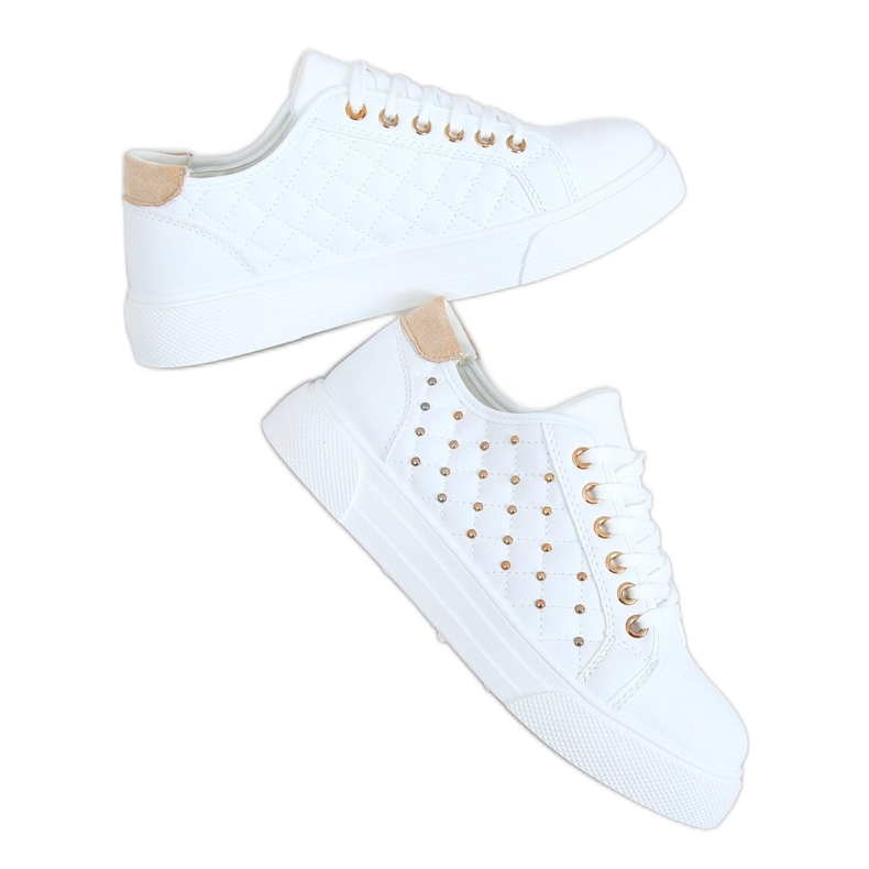 Women's sneakers with white studs LA124P Beige