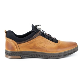 Polbut K24 red leather casual shoes yellow