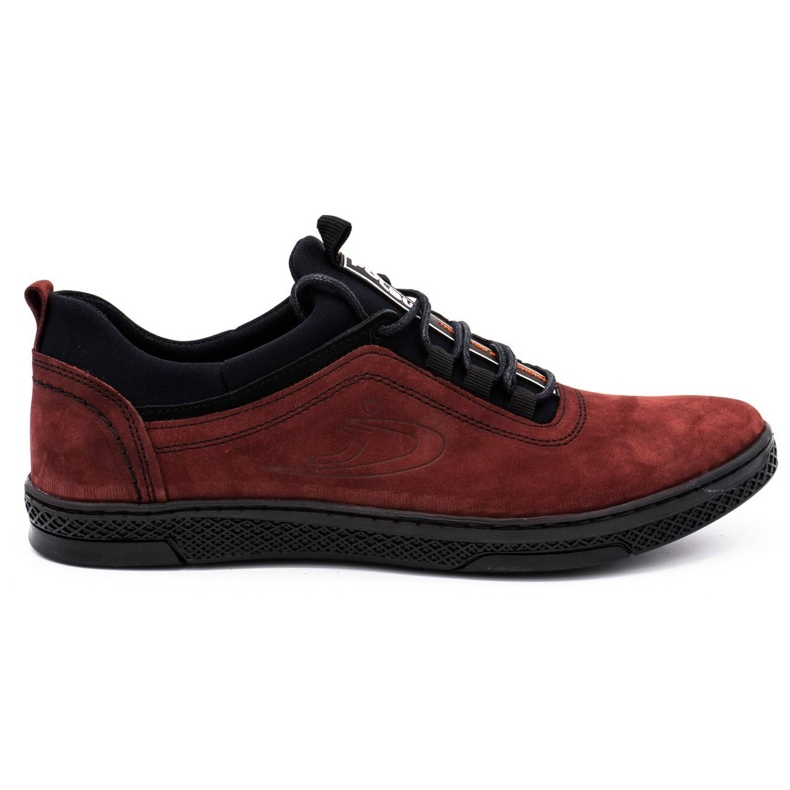 Polbut Men's leather casual shoes K24 burgundy red