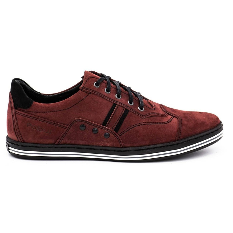 Polbut 1801 burgundy men's casual shoes red
