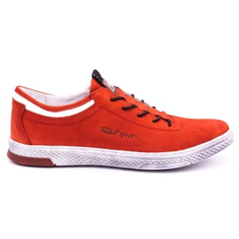 Polbut Men's leather casual shoes K23 red nubuck