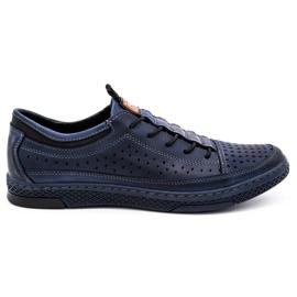 Polbut Men's leather summer shoes K22 navy blue