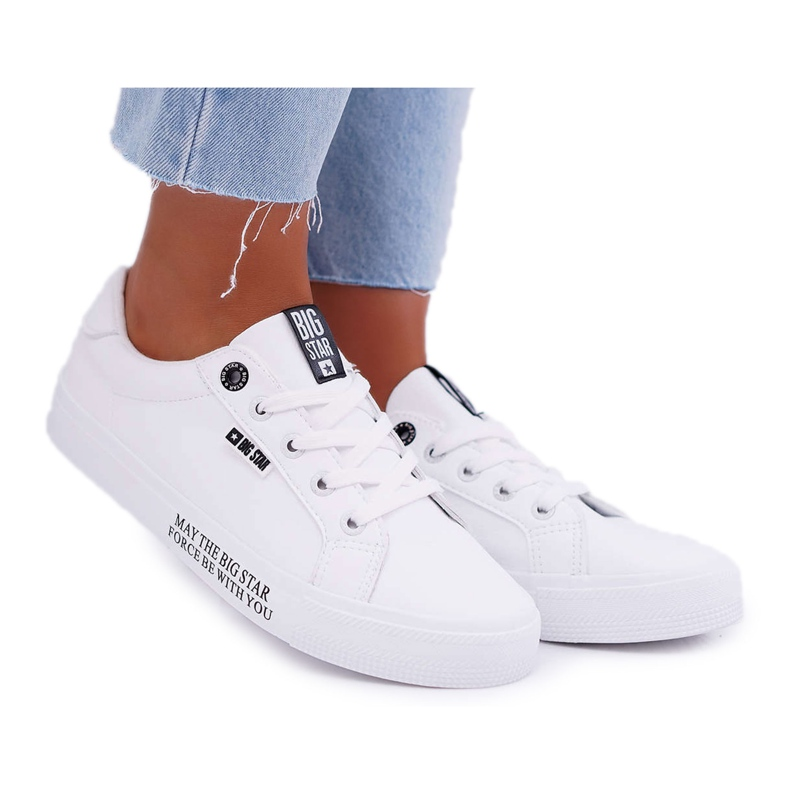 Women's leather sneakers with the inscription Big Star EE274316 White black
