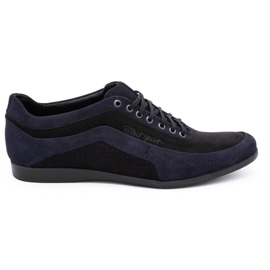 Polbut Men's casual shoes 2101P navy blue nubuck with black