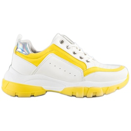 SHELOVET Eco Leather Sneakers white silver yellow