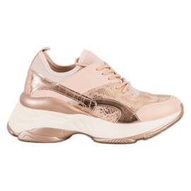 Bestelle Fashionable Sneakers On Platform pink golden