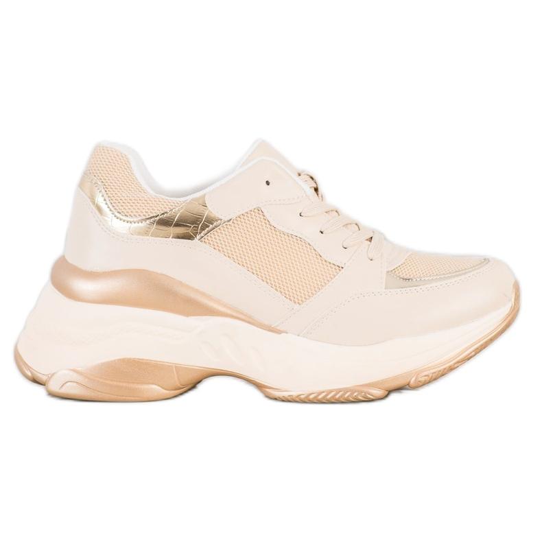 SHELOVET Stylish Golden Sneakers beige