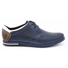 Polbut Men's shoes 2103 navy blue with white multicolored