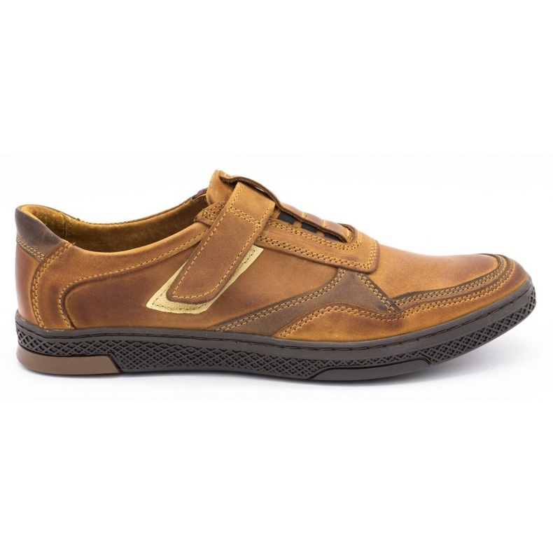 Polbut Men's casual leather shoes 2102 camel brown