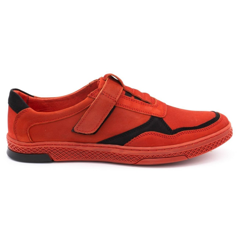 Polbut Men's casual leather shoes 2102 red
