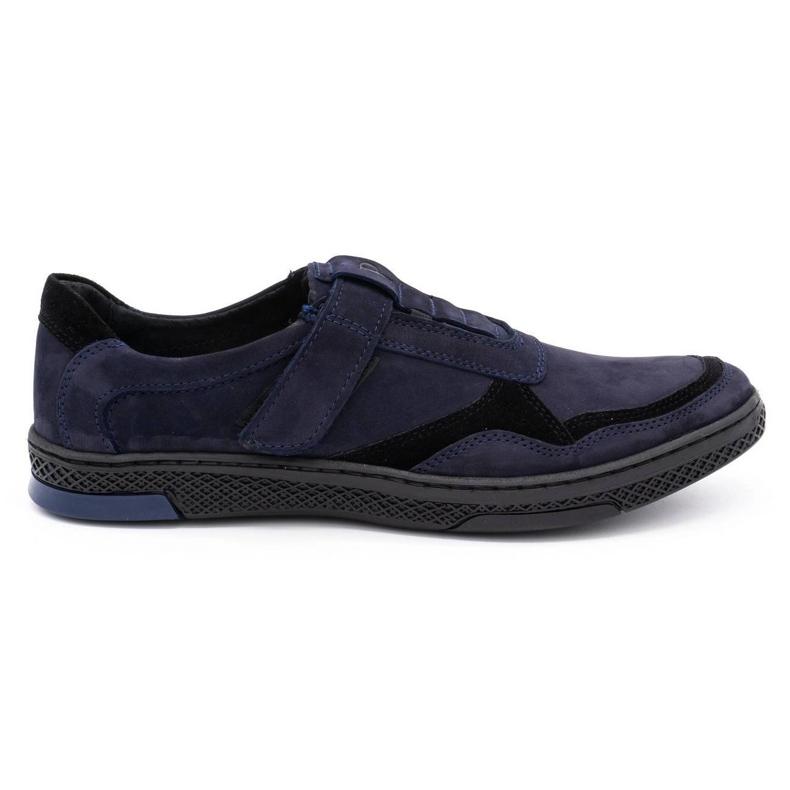 Polbut Men's casual leather shoes 2102 navy blue