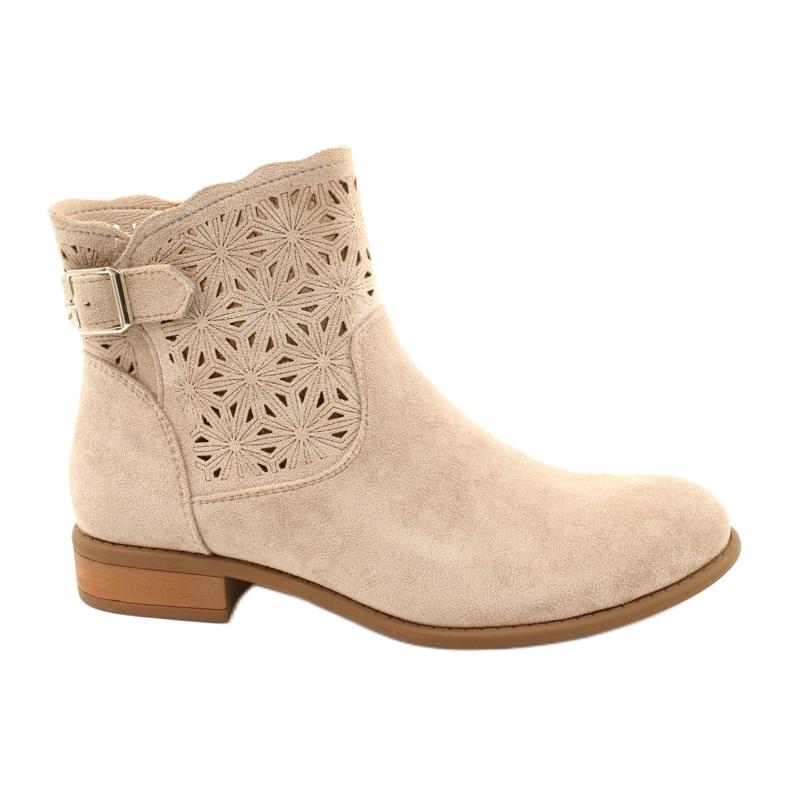 Daszyński Women's openwork suede boots SA142-18 beige