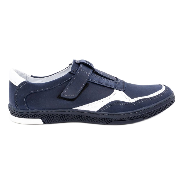 Polbut Men's casual leather shoes 2102 navy blue with white