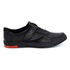 Polbut Men's casual leather shoes 2102 black with red