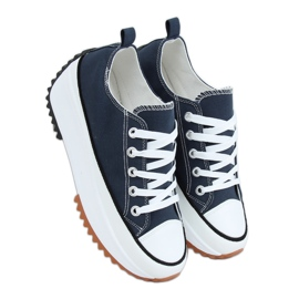 Designer sneakers with navy blue VL137P D.BLUE sole