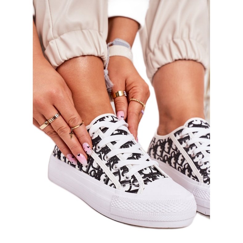 PS1 Daphne Women's Logged Sneakers White and Black