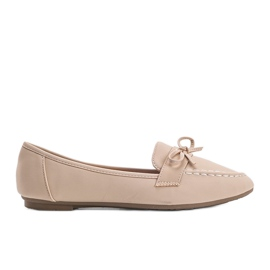 Lena beige suede loafers
