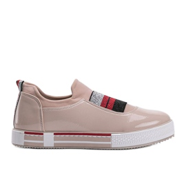 Jayde lacquered beige trainers