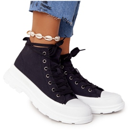 FB2 Women's High Sneakers On A Large Sole Black Trissy