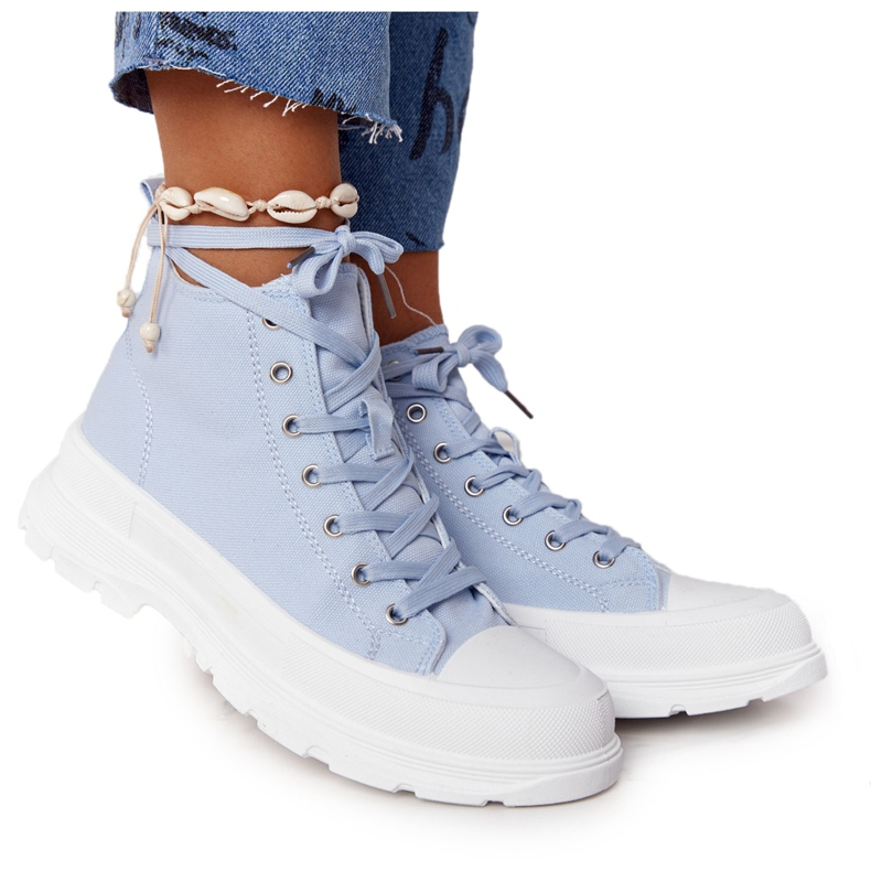 FB2 Women's High Sneakers On A Large Sole Blue Trissy