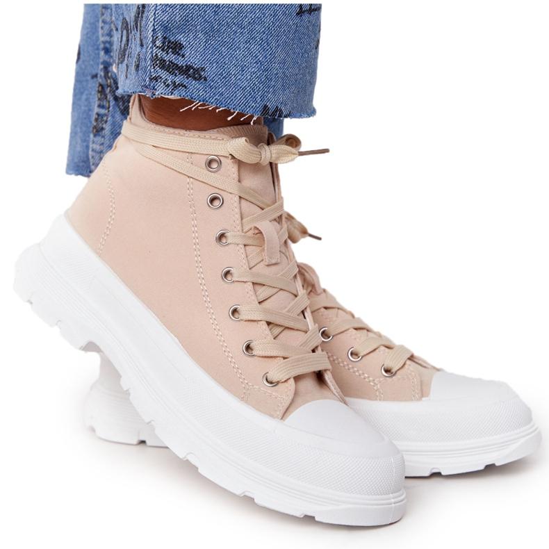 FB2 Women's High Sneakers Beige Trissy On A Large Sole