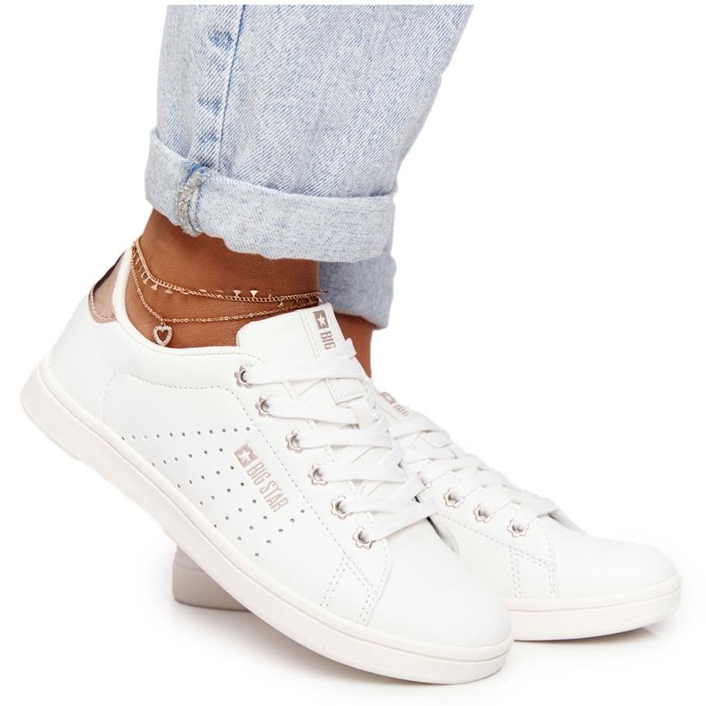 Women's Leather Sneakers Big Star DD274583 White-Copper golden