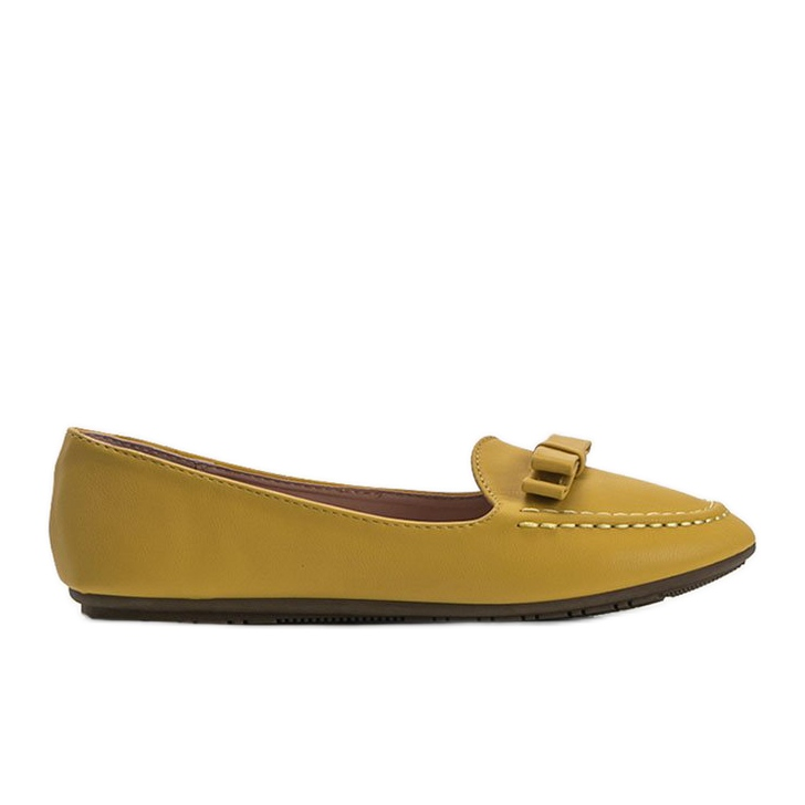 Yellow ladies loafers with Ingrid bow