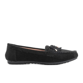 Black eco-suede loafers from Kira