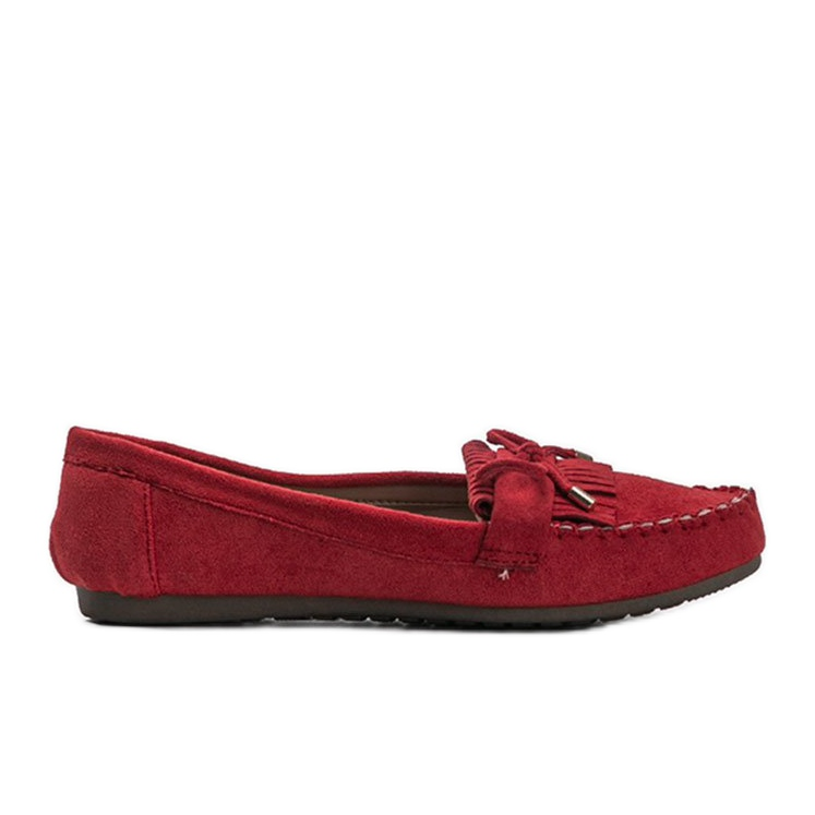 Red Kira eco-suede loafers