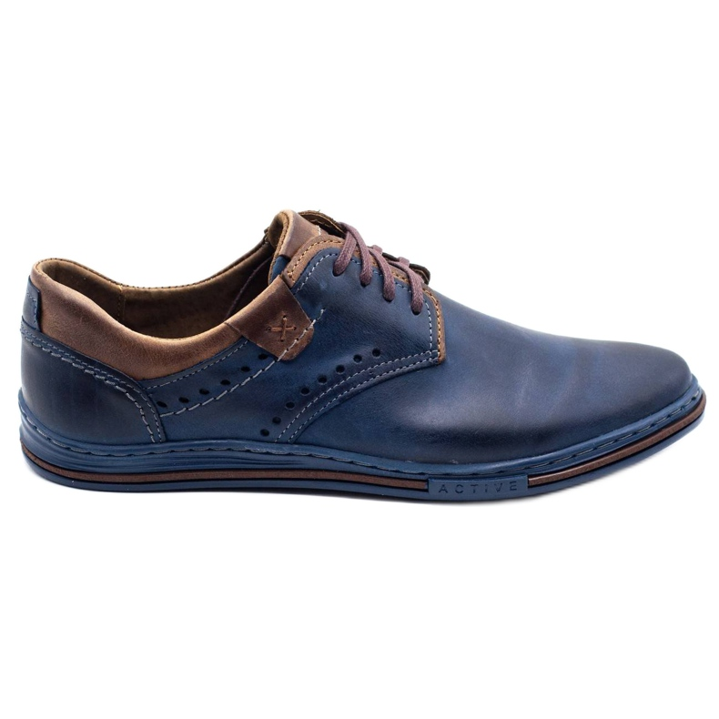 Polbut Casual men's shoes 402 navy blue with brown
