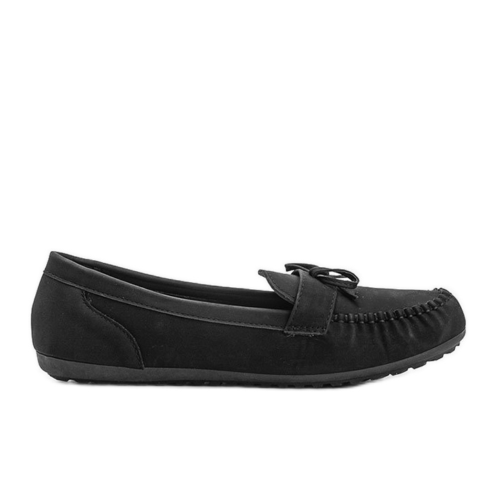 Black matte loafers with a Deborah bow