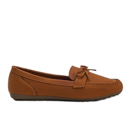 Brown matte loafers with a Deborah bow