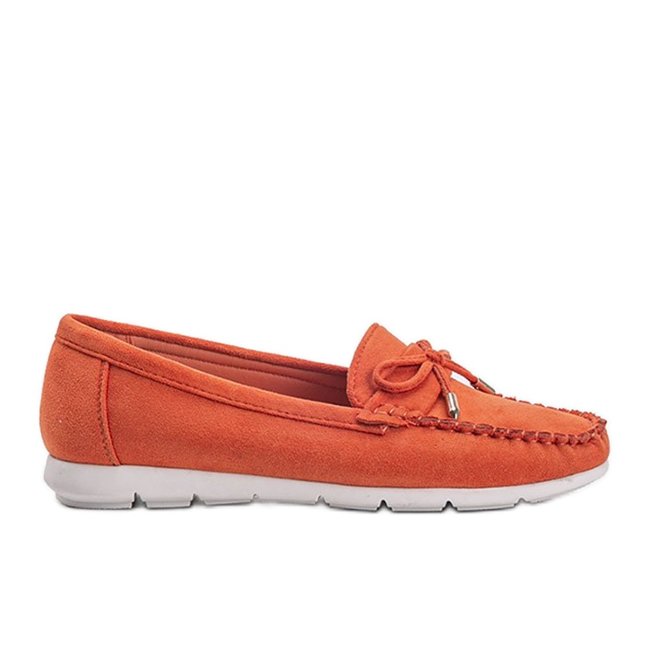 Orange eco-suede loafers with a Mckayla bow