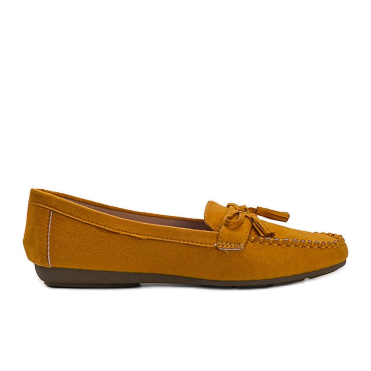 Yellow women's loafers with a Kassandra bow