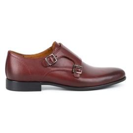 Kampol Men's formal monk shoes 341/17 burgundy red