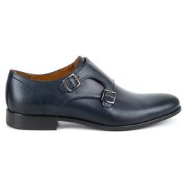 Kampol Men's formal monk shoes 341/54 navy blue
