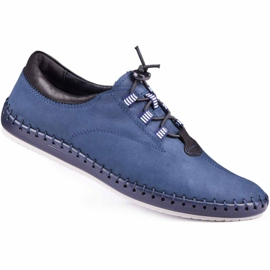 Kampol Men's casual shoes 337/53 navy blue