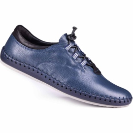 Kampol Men's casual shoes 337/63 navy blue grain