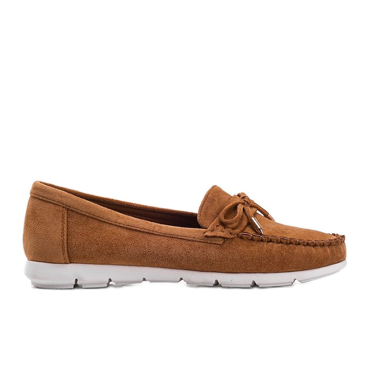 Brown eco-suede loafers with a Mckayla bow