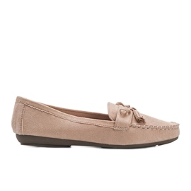Ladies' beige moccasins with a Kasandra bow
