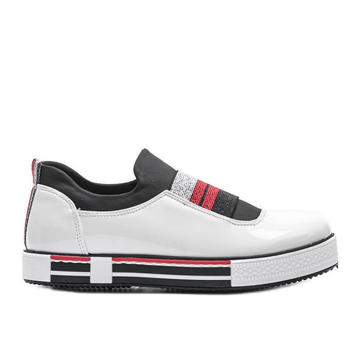 Jayde lacquered white trainers