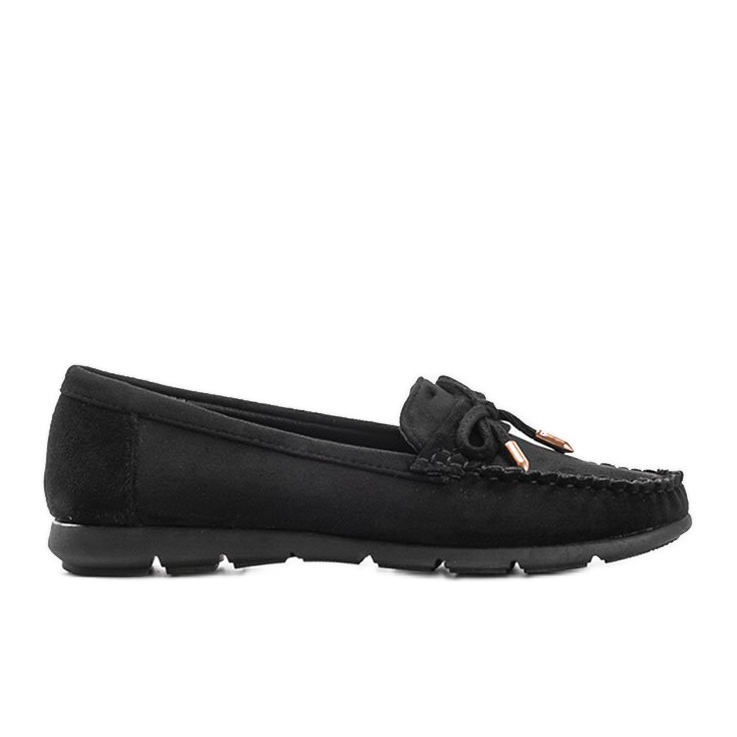 Black eco-suede loafers with a Mckayla bow