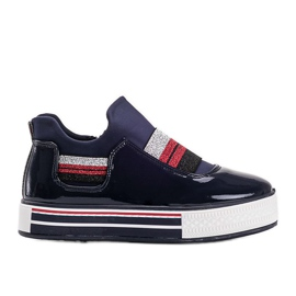 Navy blue lacquered Kaitlynn trainers