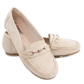 Women's beige loafers GS12P Beige