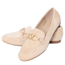 Women's beige loafers T395 Beige