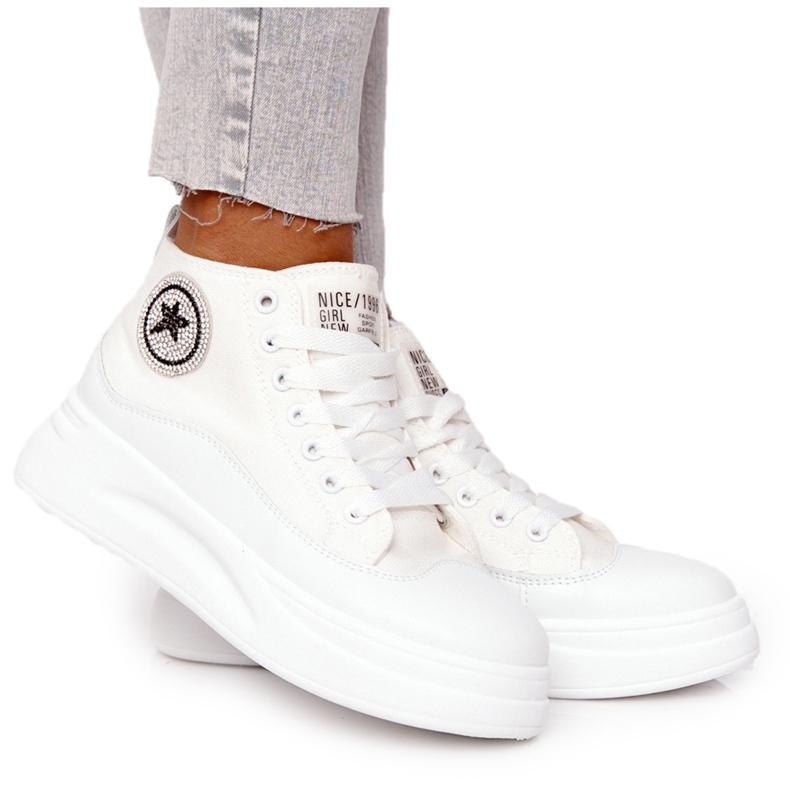 Women's High Sneakers On The Platform White Nice Girl