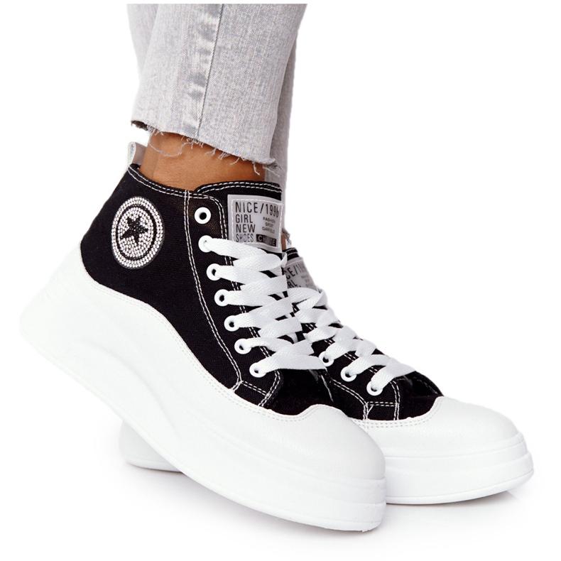 Women's High Sneakers On The Black Nice Girl Platform white